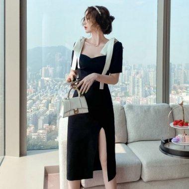 ビックリボンがおしゃれ  大人かわいい白黒バイカラーのスリットワンピース タイトドレス