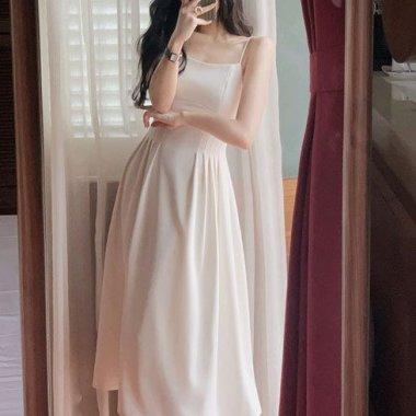 シンプルかわいい海外ドレス 美シルエットなギャザーフレアなロング丈キャミソールワンピース 2色