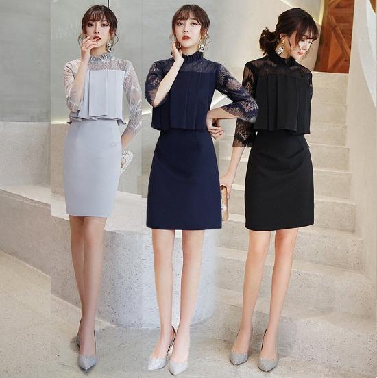 XS〜3Lのサイズ展開 上品かわいいプリーツやレースの袖ありミニドレス ワンピース 3色