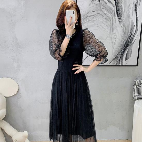 異素材MIXがおしゃれ ふんわりおしゃれなチュールスカートの長袖ロング黒ワンピース ドレス
