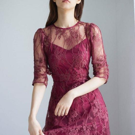 人気のお呼ばれスタイル バックリボンで360度かわいい繊細レースの袖ありロングワンピース 3色