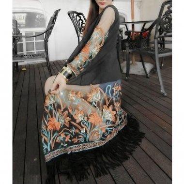 【即納】シースルーシフォンの花柄刺繍ロングカーディガン/FREEサイズ