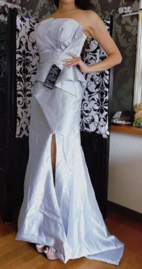 ぺプラムでスタイルアップ ベアトップマーメイド イブニングドレス