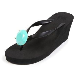 Birthday beach sandal Wedge heel / December / Turquoise / Black(12月ターコイズ・ブラック)