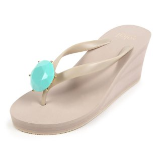 Birthday beach sandal Wedge heel / December / Turquoise / Beige(12月ターコイズ・ベージュ)