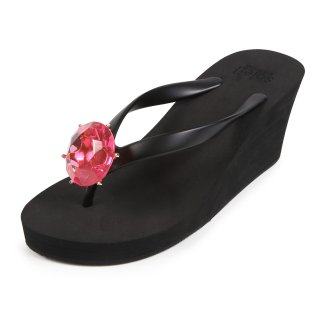 Birthday beach sandal Wedge heel / September / Pink Sapphire / Black(9月ピンクサファイア・ブラック)