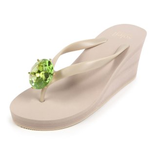 Birthday beach sandal Wedge heel / August / Peridot / Beige(8月ペリドット・ベージュ)