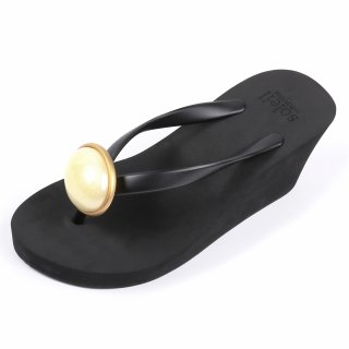 Oval stone sandal Wedge heel / June / Pearl / Black(6月パール・ブラック)
