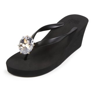 Birthday beach sandal Wedge heel / April / Diamond / Black(4月ダイヤモンド・ブラック)