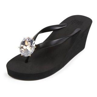 Birthday beach sandal Wedge heel / April / Diamond / Black(4月ダイヤモンド・ブラック)