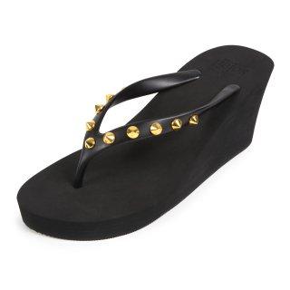 Studs round sandal Wedge heel /  Black(スタッズ・ブラック)