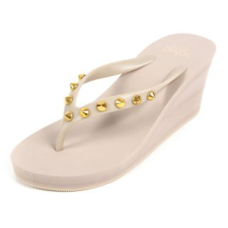 Studs round sandal Wedge heel /  Beige(スタッズ・ベージュ)