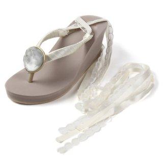 Wedding Wedge heel / Diamond /satin&lace ribbon(ダイヤモンド・サテン&レースリボン)