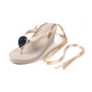 Ribbon beach sandal Wedge heel / November / Blue Topaz / Beige(11月ブルートパーズ・ブラック)