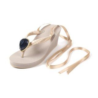 Ribbon beach sandal Wedge heel / November / Blue Topaz / Beige(11月ブルートパーズ・ブラック)