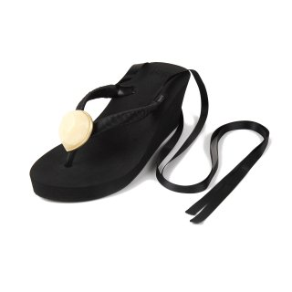Ribbon beach sandal Wedge heel / June / Pearl / Black(6月パール・ブラック)