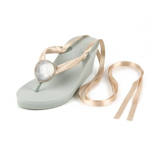 Ribbon beach sandal Wedge heel / April / Diamond / Khaki(4月ダイヤモンド・カーキ)