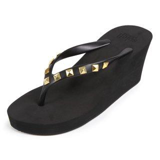 Studs square sandal Wedge heel /  Black(スタッズ・ブラック)