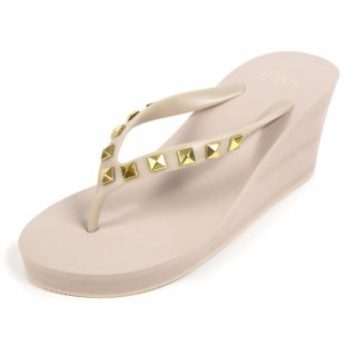 Studs square sandal Wedge heel /  Beige(スタッズ・ベージュ)