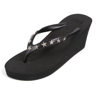 Studs star sandal Wedge heel /  Black(スタッズ・ブラック)