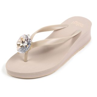 Birthday beach sandal Low heel / April / Diamond / Beige(4月ダイヤモンド・ベージュ)