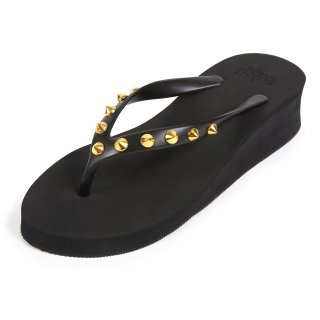 Studs round sandal Low heel /  Black(スタッズ・ブラック)
