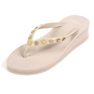 Studs star sandal Low heel /  Beige(スタッズ・ベージュ)