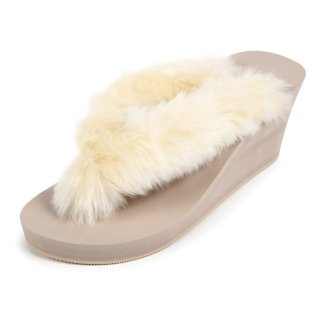 New fur sandal Wedge heel /  Beige(ホワイトファー・ベージュ)