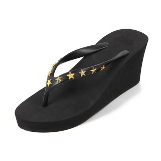 Studs star sandal Wedge heel /  Black(スタッズ・ブラック)