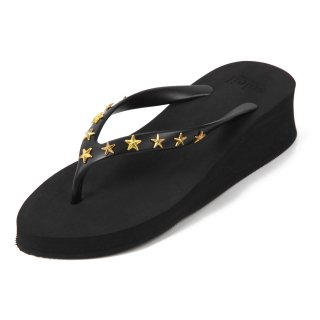 Studs star sandal Low heel /  Black(スタッズ・ブラック)