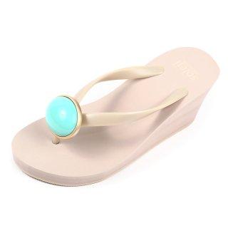 Oval stone sandal Wedge heel / December / Turquoise / Beige(12月ターコイズ・ベージュ)