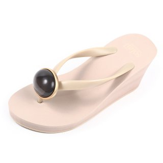 Oval stone sandal Wedge heel / June / Moonstone / Beige(6月ムーンストーン ・ベージュ)