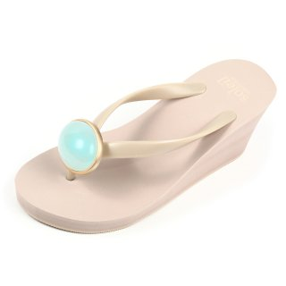 Oval stone sandal Wedge heel / March / Aquamarine / Beige(3月アクアマリン・ベージュ)