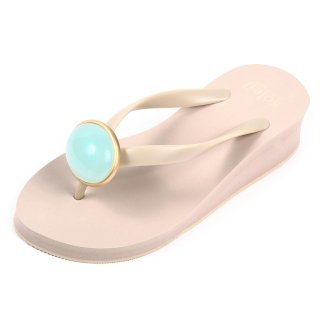 Oval stone sandal Low heel / March / Aquamarine / Beige(3月アクアマリン・ベージュ)