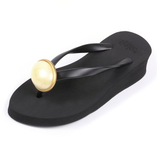 Oval stone sandal Low heel / June / Pearl / Black(6月パール・ブラック)