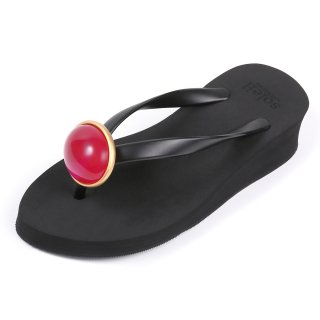 Oval stone sandal Low heel / July / Ruby / Beige(7月ルビー・ベージュ)