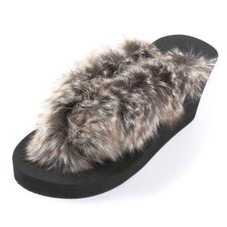 Mix fur sandal Wedge heel /  Black(グレーミックスファー・ブラック)