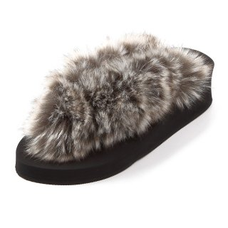 Mix fur sandal Low heel /  Black(グレーミックスファー・ブラック)