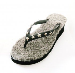 Studs star fur sole sandal Low heel /  Black(スタッズ・ファーソール・ブラック)