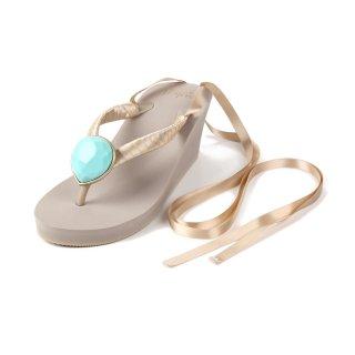 Ribbon Birthday beach sandal Wedge heel / December / Turquoise / Beige(12月ターコイズ・ベージュ)