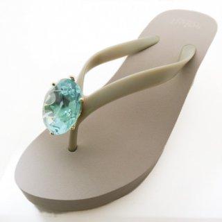 Birthday beach sandal Wedge heel / March / Aquamarine / Beige(3月アクアマリン・ベージュ)