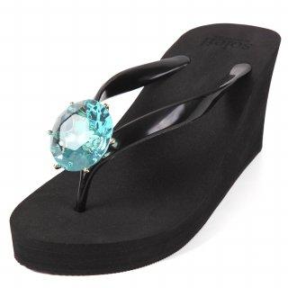 Birthday beach sandal Wedge heel / March / Aquamarine / Black3月アクアマリン・ブラック)