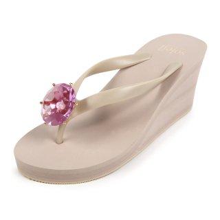 Birthday beach sandal Wedge heel / September / Pink Sapphire / Beige(9月ピンクサファイア・ベージュ)