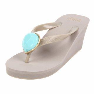 Birthday beach sandal Wedge heel / December / Turquoise / Beige(12月ターコイズ・ベージュ)