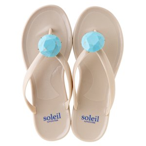 Birthday beach sandal Low heel / December / Turquoize / Beige(12月ターコイズ・ベージュ)