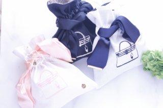 embroidery リネン・BAG柄刺繍オリジナル巾着 ブランドSERI's series