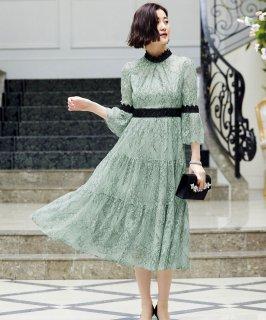 シャンテリーレースティアードドレス「U906」/結婚式・披露宴・二次会などお呼ばれ対応フォーマルパーティードレス