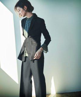 ウエストリボンジャケットパンツスーツ「CSU974」/学校行事・通勤・ビジネス・オフィスシーン対応