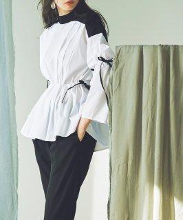 サイドリボンペプラムシャツ「T979」/学校行事・通勤・ビジネス・オフィスシーン対応