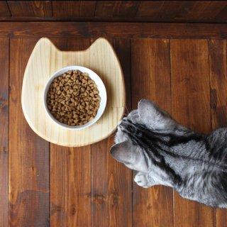 木製 ネコ顔フードテーブル(フードボウル12.5cm付/シングル)13.CATS.WORKSオリジナル